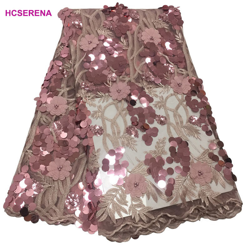 New French embroidered tulle lace fabric with 3D flowers African net lace Rose gold sequin lace
