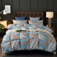 Goose Down Quilt Autumn Winter Comforter 4 Seasons Thick Warm Feather Duvet Queen King Leaf Printed King Queen Full Single