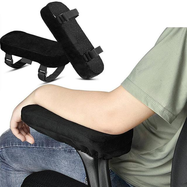 Memory Cotton Anti-Slip Gripped Cushions Armrest Pads Black Solid for Oval Home Pair of Office Chair