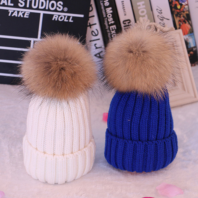 Real Raccoon Fur Hat With Ball Adjustable Pom Poms Winter Black Hat For  Women Wool Hat Knitted Cotton Beanies Thick Female Cap 79cd91420b4b