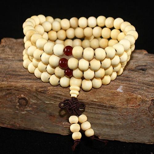108 бусины 8 мм натуральные буддийские бусы из сандалового дерева будды деревянные молитвенные бисерные узелки черные эбеновые унисекс Мужские браслеты и браслеты для женщин - Окраска металла: 1 white