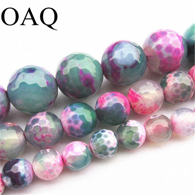 Wholesale 8/10/12/14mm faceted natural onyx carnelian stone pink green fire carnelian Gems round Loose Beads jewelry making