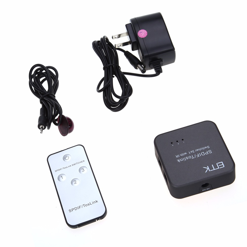 Portable Mini Optical Audio Switcher SPDIF TOSLINK Digital Optical Audio 3x1 Switcher 3 Inputs 1 Output with IR Remote
