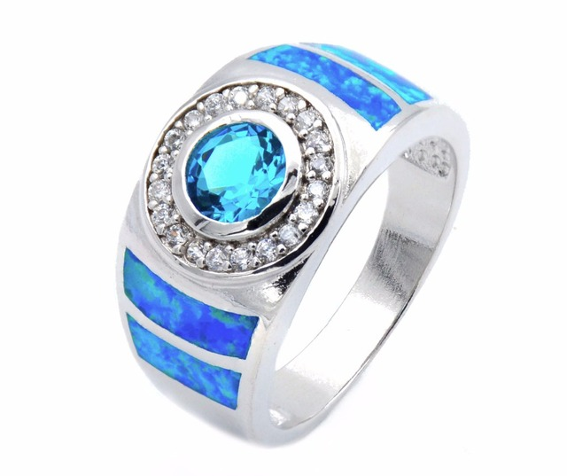 Cool blue fire opal ring for men Free shippingin Wedding Bands from