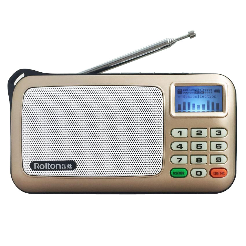 Rolton W505 MP3 WMA WA Player Mini Portable Radio Portable Radio FM Dengan Sokongan Skrin LCD TF card Playing Music LED Flashlight