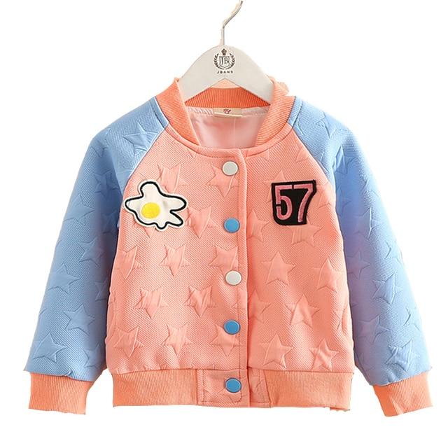 Baby Girl 2017 Spring Clothing Cute Star Pattern Sweatshirts Cardigan Baseball Uniform Kids Long Sleeve Teenage Hoodies Jackets