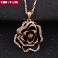 ZHOUYANG Luxurious Blooming Roses Rose Gold Plated Party Jewelry Necklace Rhinestone Made with Austrian Crystals ZYN516
