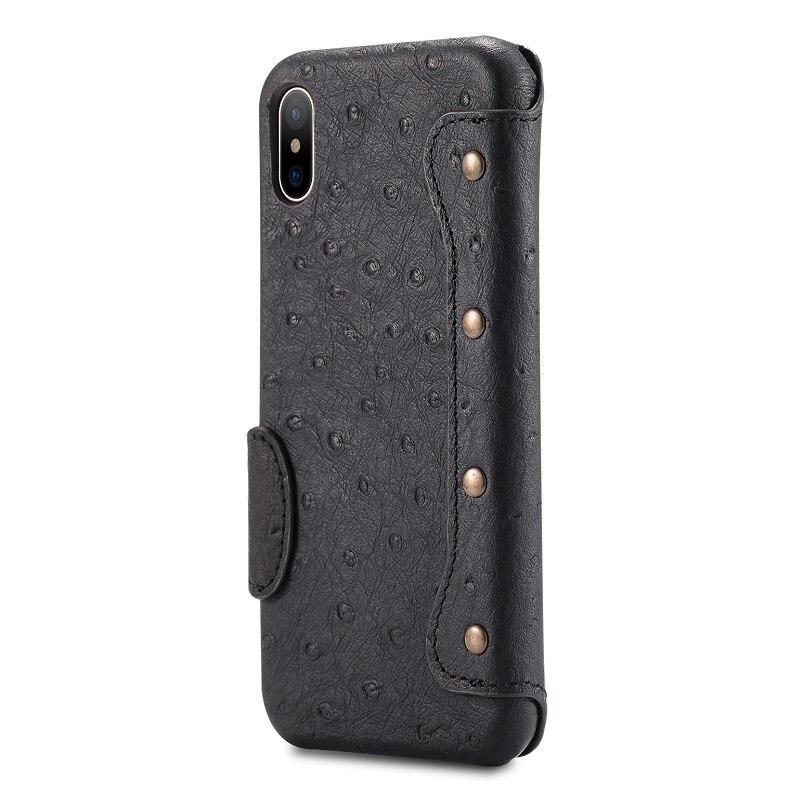 Solque Véritable En Cuir Flip Cas de Téléphone Pour iPhone X De Luxe Titulaire de la carte Wallet Cas pour iPhone 10 Autruche Motif Aimant couverture