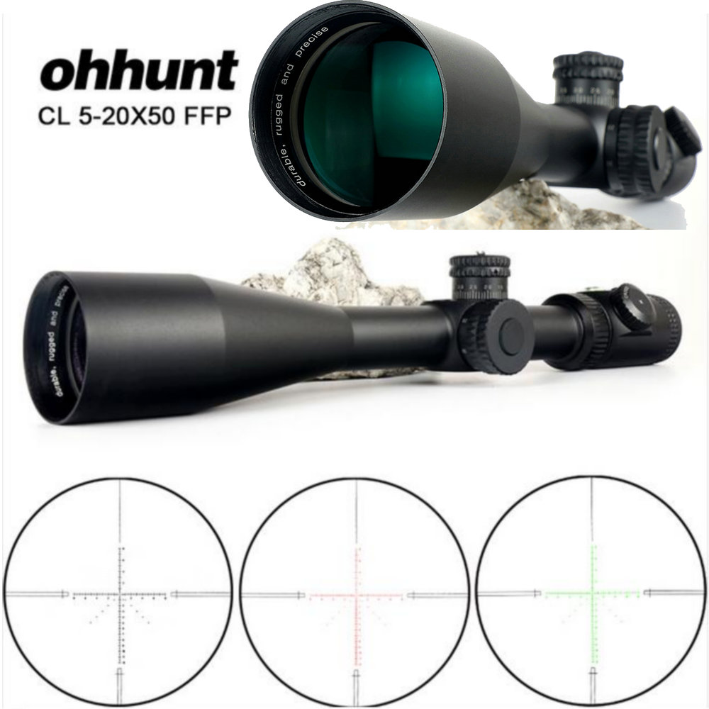 ohhunt CL 5 20X50 FFP Hunting Riflescope Optical Sights Red Green Illuminated Glass Etched Reticle Tactical Scope for Rifle