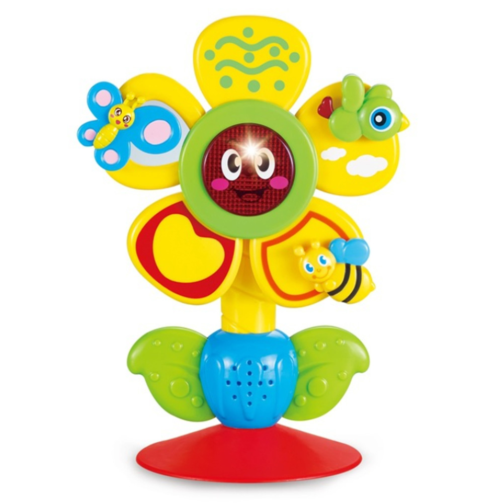 New Baby Activity Toy Sun Flower Rattle Toy Intelligence Development Puzzle Baby Dining Chair Cart Suction Cup Toy N26