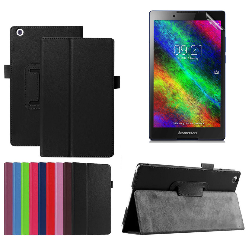 Protective Bag Folio PU Leather Case For Lenovo Tab 3 8.0 inch TB3-850F TB3-850M Tablet Litchi Case Stand Cover + Clear Film 2017 new for lenovo tab2 a8 pu leather stand protective skin case for lenovo 8 inch tab 2 a8 50 a8 50f tablets cover film pen