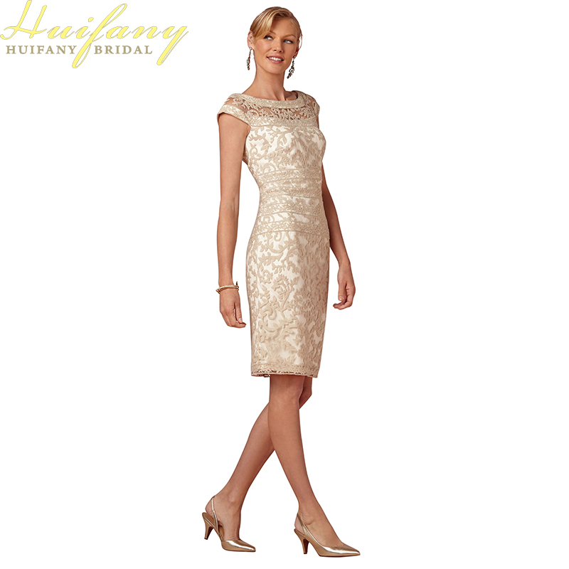 Champagne Short Straight Knee Length Godmother Wedding Party Dress Sheath Lace Mother of the Bride Dresses