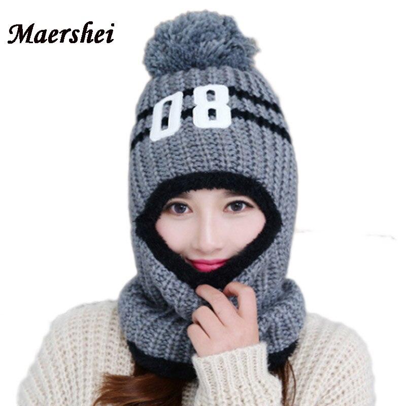 MAERSHEI Women's Winter Warm Hat Mask Beanies hat girls Balaclava Knitted Skullies Caps