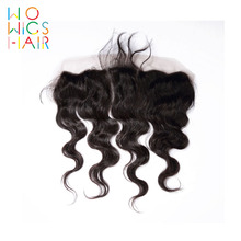 WoWigs Hair Body Wave Lace Frontal Remy Natural Color 100% Human Free Shipping