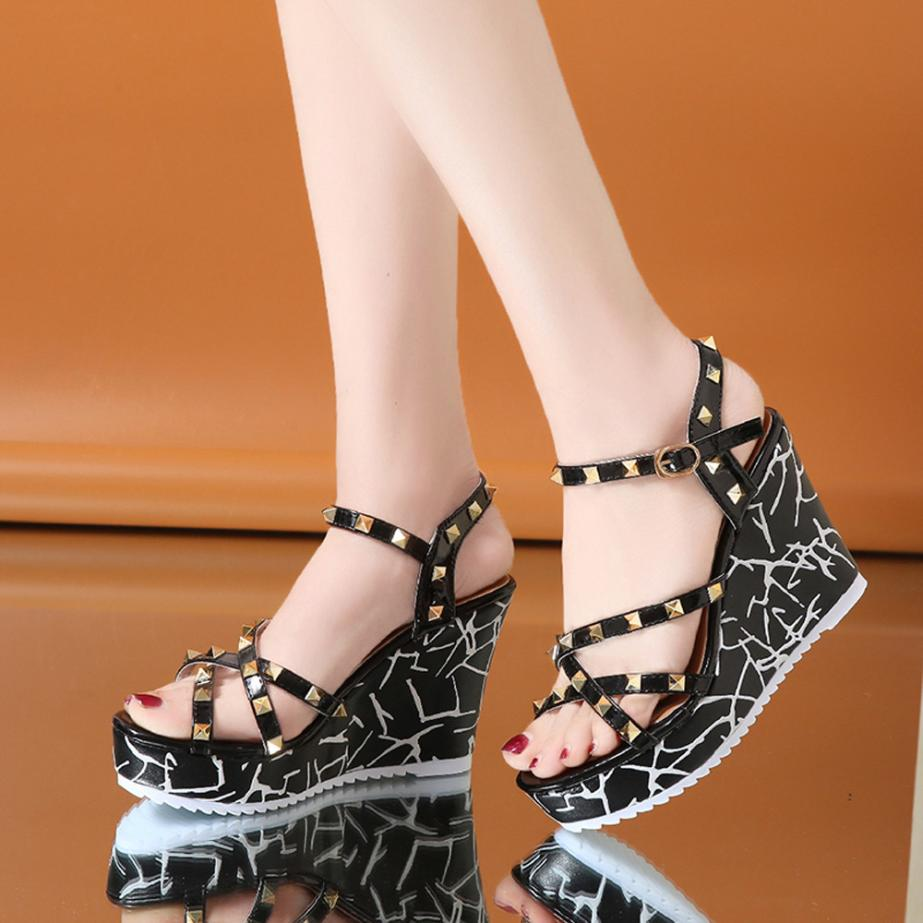 Summer Lady Fashion Wedge High Heels Sandals Elegant Rivets Women Heels Fashion Platform High Heels Wedge Sandals Female Shoes 15