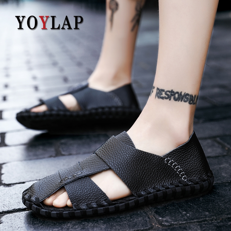 Yoylap Genuine Leather Men Sandals Shoes Fretwork Breathable Fisherman Shoes Style Retro Gladiator summer men Business shoes