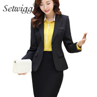 Womens Work Blazers 2015 Autumn High Quality Collar Single Button Lined Slim Blazer Office Lady Suit