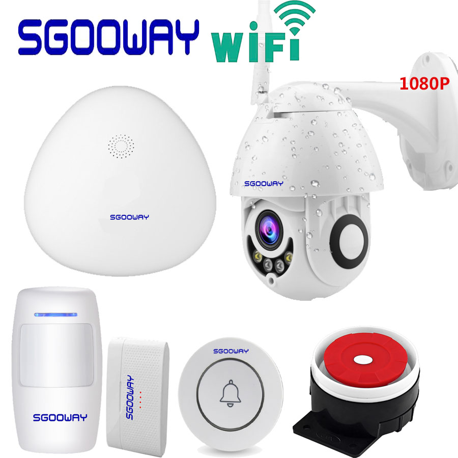 Sgooway Wifi Smart Home Security Alarm System Via Wireless Outdoor Waterproof 1080P IP Camera