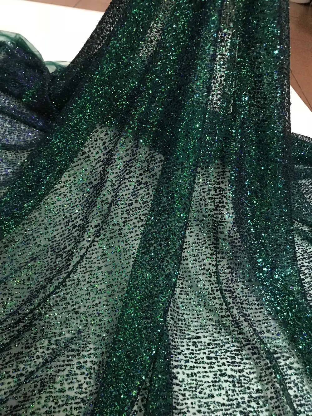 tulle lace with glued glitter fashion CiCi 101907 african glitter lace fabric for party dress 5yard