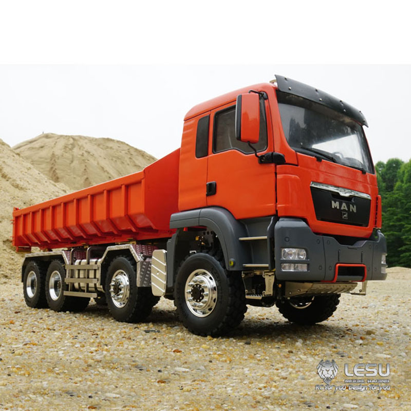 Camion à benne basculante hydraulique 1/14 roll-on MAN (TGS) 8X8 quatre axes à couple élevé à entraînement complet LS-20160901 camion à benne basculante RCLESU Tamiya