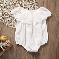 2017 Summer Baby Girl Clothes Short Sleeve Ruffle White Lace Baby Girl Romper Summer Infantil Overall