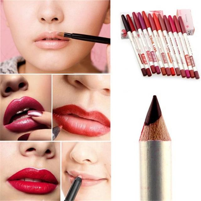 12 unids/set Alta Calidad 12 Colores Colorido Impermeable Del Brillo Esmeralda Lippliner Belleza Delineador de Labios/Lápiz Delineador Ojos Maquillaje Sets