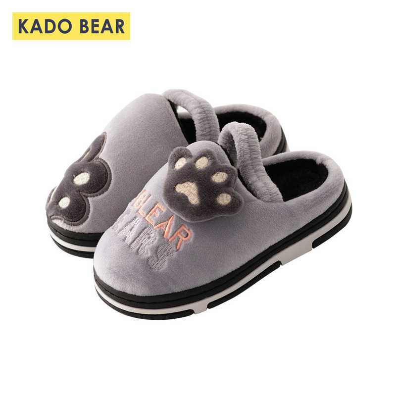 Autumn Winter Children Cartoon Household Shoes Kids Girls Fur Plush Family Home Slippers Toddler Boys Soft Warm Unisex Slipper
