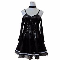 2018 Death Note Misa Amane Imitation Leather Sexy Tube Tops Lace Dress Uniform Outfit Anime Cosplay