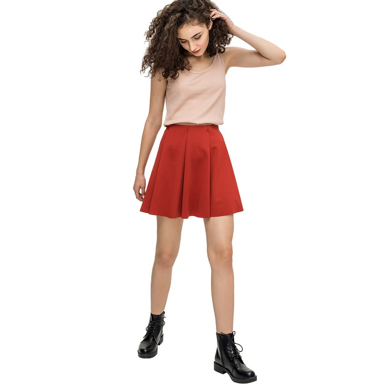 Skirts befree 1731254200 woman skirt viscose women clothes apparel for female TmallFS sexy style plunging neck solid color back zipper sleeveless tank top stripe skirt for women