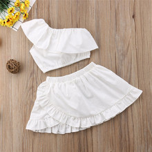 65c7dde0b5c3 Summer Sleeveless Off Shoulder Crop Tops Skirt Outfits Girl Clothing Solid  White 2PCs Newborn Kids Baby