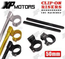 New Motorcycle 50mm Billet 7/8″ Handlebar Clip-Ons 1″ Riser Clamp Kits Universal Fit 50mm Forks