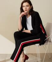 High Quality Suits Women Autumn Black Striped Shawl Collar Casual Slim Long Suits Office Lady Coat Fashion Outwear !