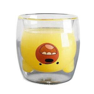 Image 4 - 250ML yaratıcı ayı kahve kupa sevimli hayvan çift cam kahve fincanı karikatür şeffaf süt kupalar bayan kahve fincanları çocuk hediye