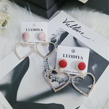 Korea Handmade Pearl Velvet Rhinestone Heart Women Drop Earrings Dangle Fashion Jewelry Accessories-QQD5