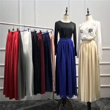 2017 New style pleated skirt muslim dubai arab long skirt chiffon maxi evening cocktail maxi gown