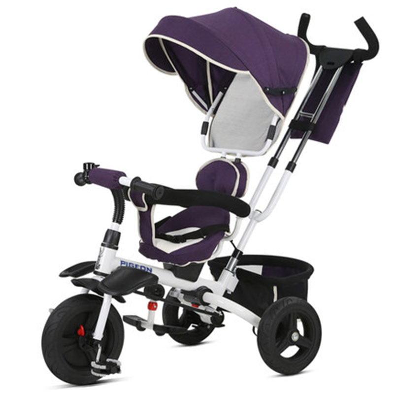 Multi-disposal Equipment Inflatable Solid PU Wheel One Car One-button Folding Baby Three-wheeled Trolley For Boy And Girl