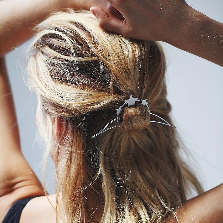 Vintage Star Circle Metal Hair Sticks Hairpins Fashion Branded Design Hair Stick Accessories Women