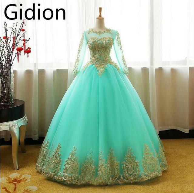 Ball gown sky blue princess wedding dresses gold lace long sleeve ...