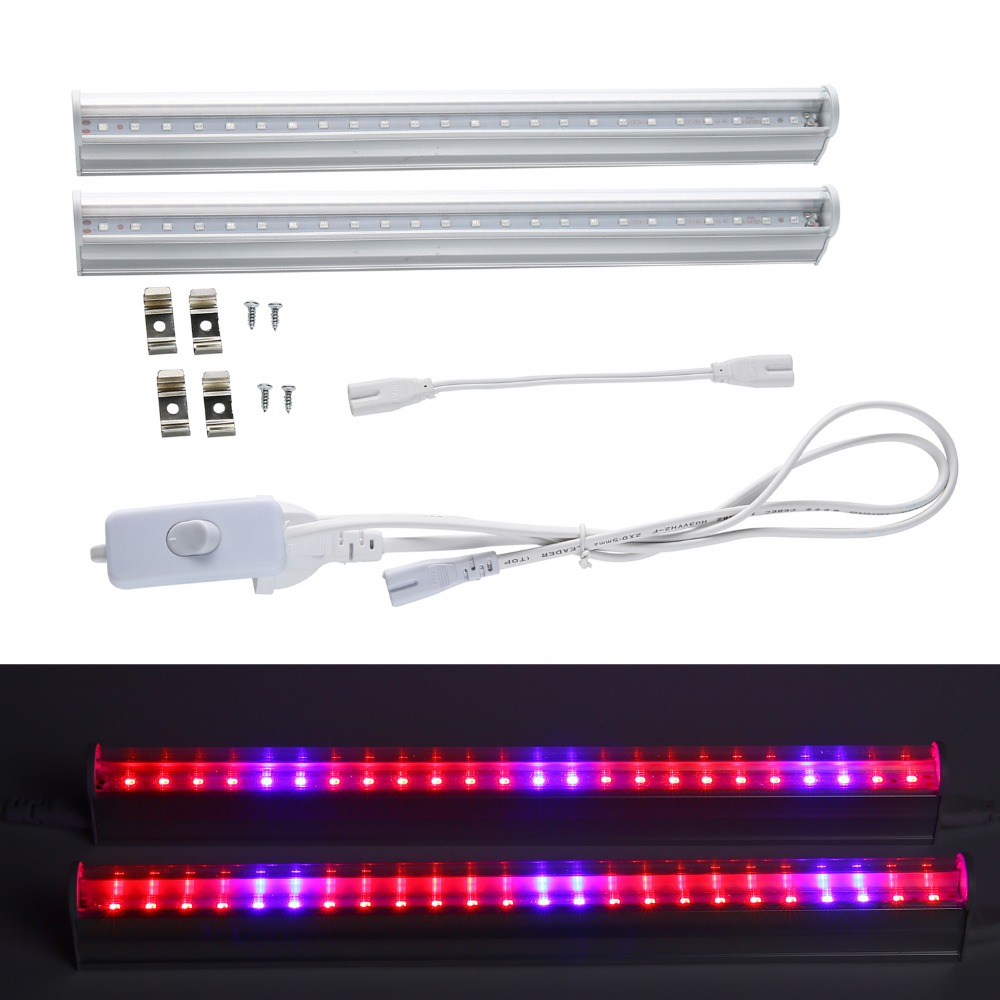 lmco 2pcslot led grow light growing lamp t5 tube with switch wire for flowers fruits hydro plants vegetables led plantas lights