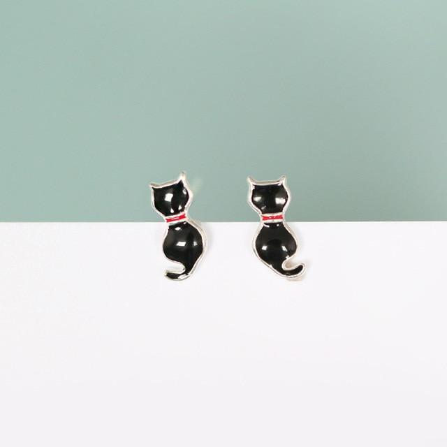 Black Cat Earrings - Sterling Silver fPiwjcz