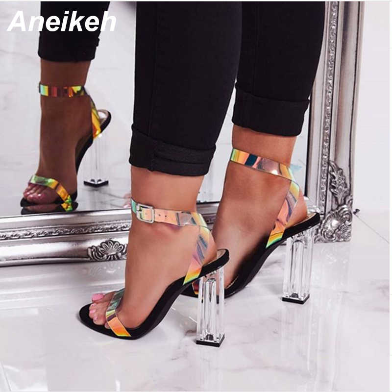 Aneikeh 2019 Concise Summer PU Women Sandals Transparent Buckle Strap Round Toe Clear Glass Square High Heel Dance Black Size 42