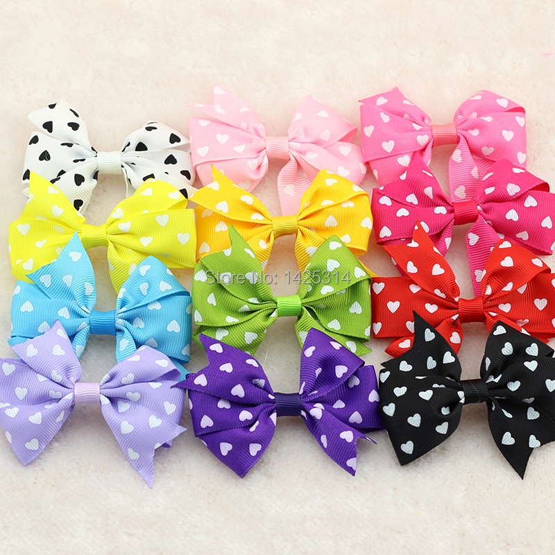 Love heart Cordate prints Children Hair accessories Colorful Ribbon Hand made Baby girls Hir Bow Hiar clips 300pcs