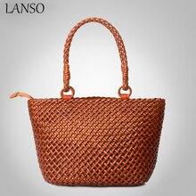 New Arrival Imported Italian Leather Beach Handbag for Summer Handmade Woven Tote Designer Vintage Shopping Handbags LANSO Brand