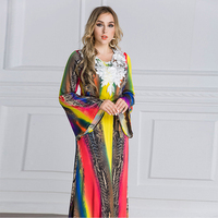 Muslim women's robes Arab Middle Eastern women's long sleeved loose black dress spring and summer classic wild women's clothing