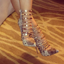 ZKshoes женщины моды змеиной pu высокие каблуки сексуальная Гладиатор тонкий каблук насосы размер ЕС 34—45
