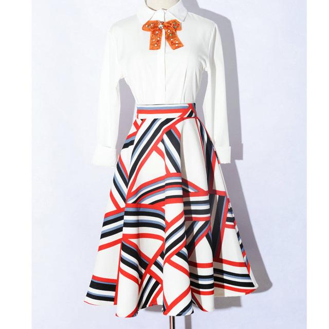 Women Flared Striped Knee Length Skater Skirts Ladies High Waist Lining Print Midi Office Work  Midi Skirt