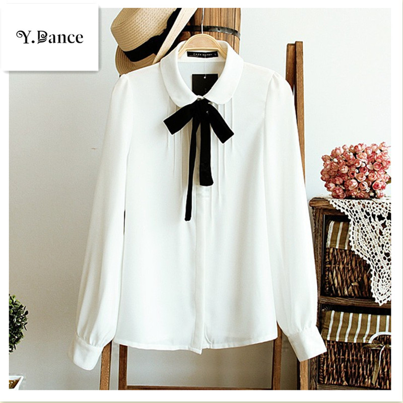Sell like hot cakes Fashion female elegant bow tie white blouses Chiffon peter pan collar casual shirt Ladies tops school blouse