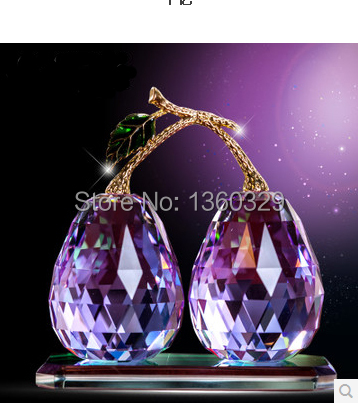 Christmas Gift Feng Shui Lustre Crystal Ball Two Pears on a Very Branch means Never Seperated to show True Love Free Shipping