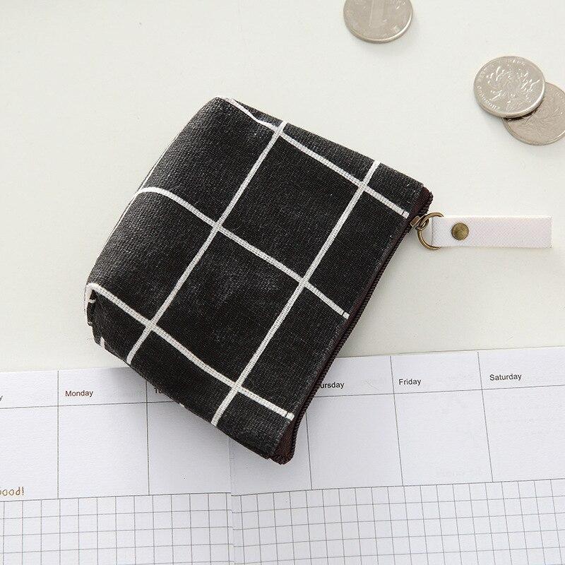 ETya, новинка, женский, детский холщовый Кошелек для монет, Цветочный, клетчатый, на молнии, маленький кошелек, детский, женский, для ключей, держатель для карт, мини, сумка для денег, подарок - Цвет: black