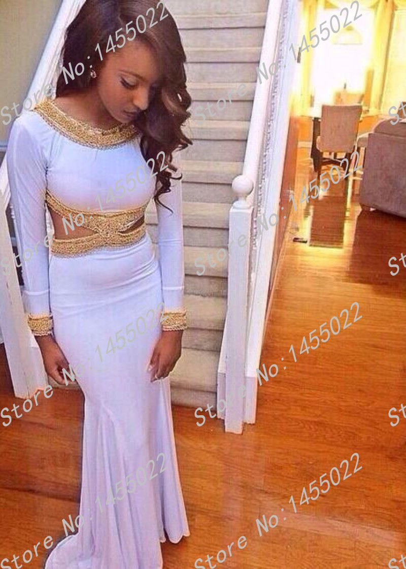 Aliexpress.com : Buy White and Gold Prom Dresses 2015 New Arrival ...